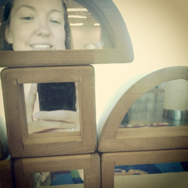 Funny photo with mirror blocks