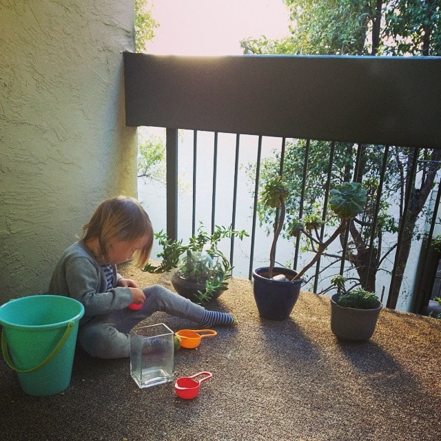 Playing on the porch