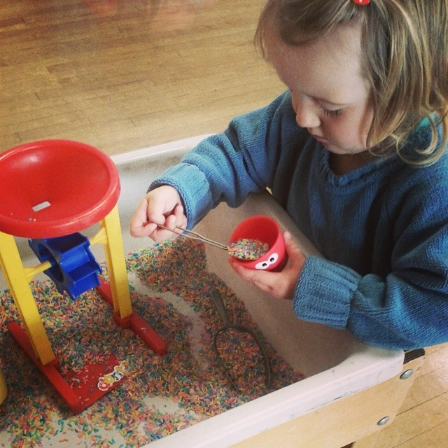 Sensory play with rice at Kindergym