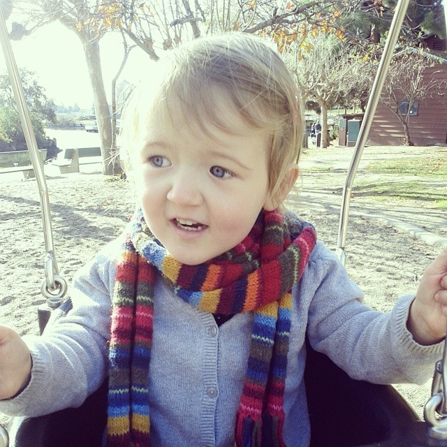 This kid really appreciates our scarf collection