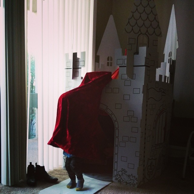 The tent is now in the castle.