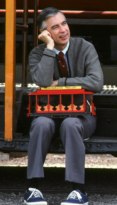 A favorite image of Fred Rogers and his trolley.