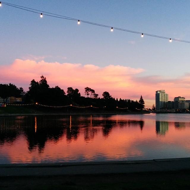 Pink sunset is over Lake Merritt