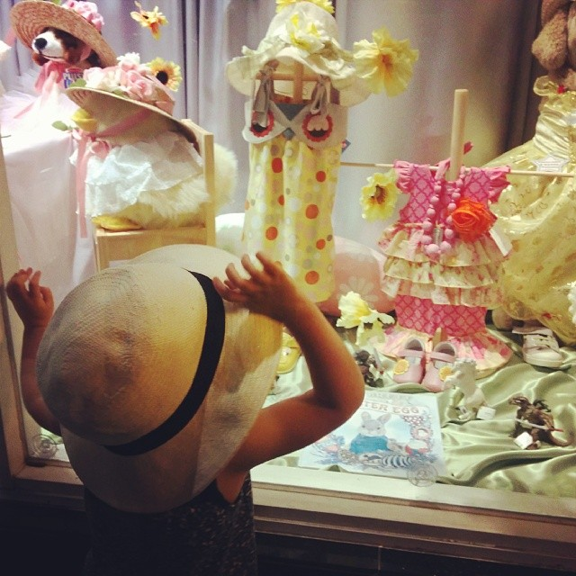 Emma loves the shop window at Silver Moon Kids!