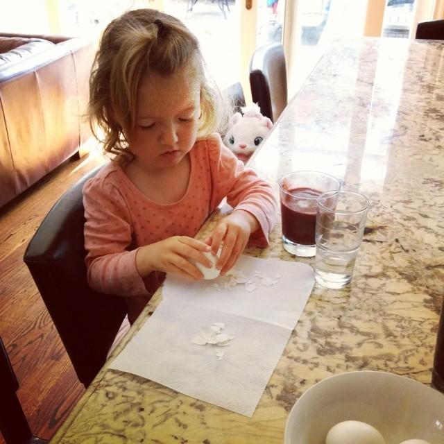 peeling eggs for breakfast