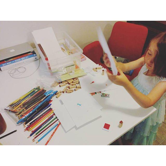 making, creating, sticking, stamping, writing!