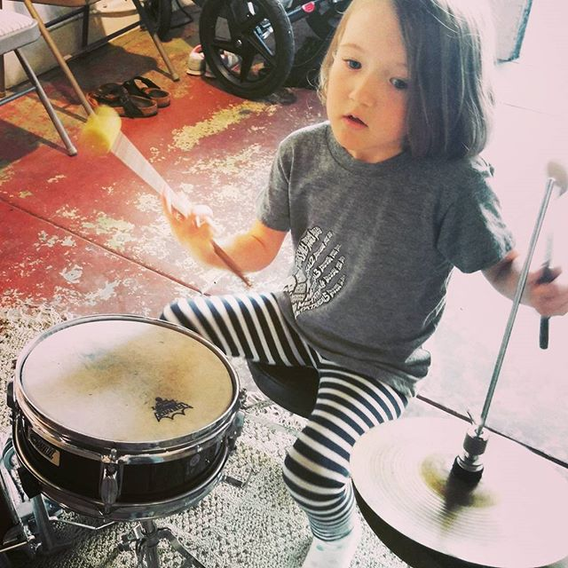 Clover on drums!