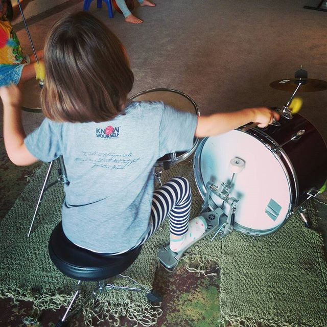 Clover on the drums and wearing her cool @knowyourselfoak shirt