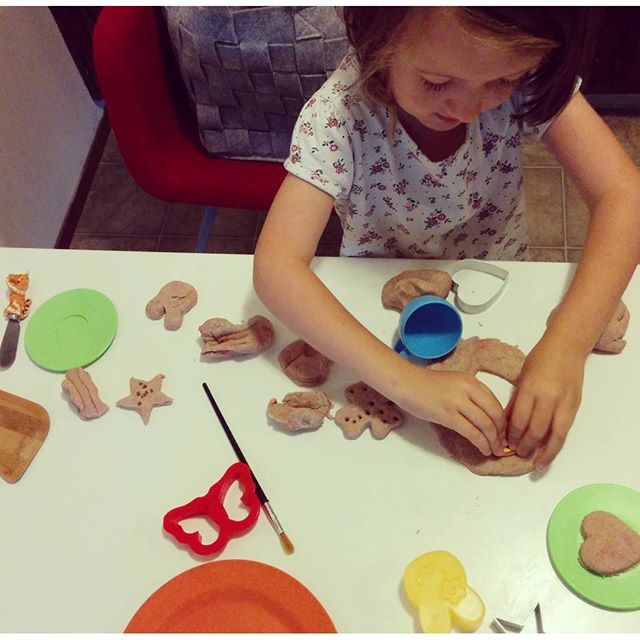 We made some gingerbread play dough. Smells so good!