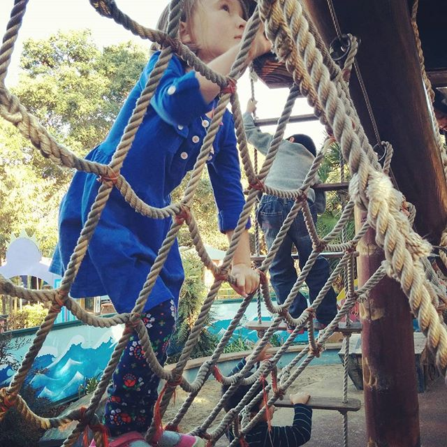 First time on the rope ladder on Capt. Hook's pirate ship