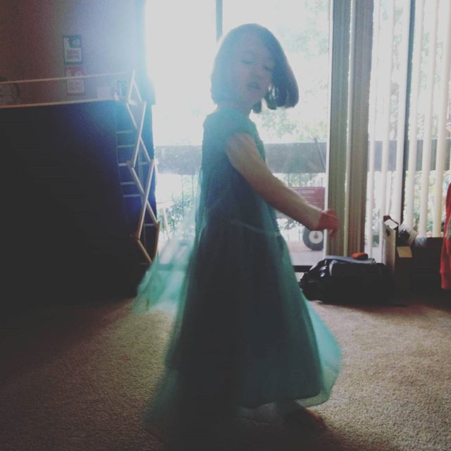 dancing to Yann Tiersen in her new dress from aunt @joanlindsey