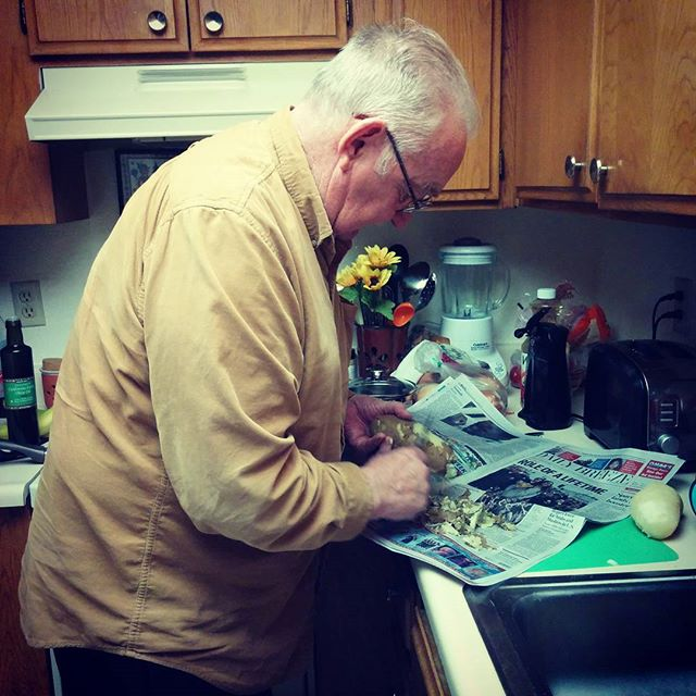 Grandpa is making his family's traditional potato salad for the Christmas eve party.