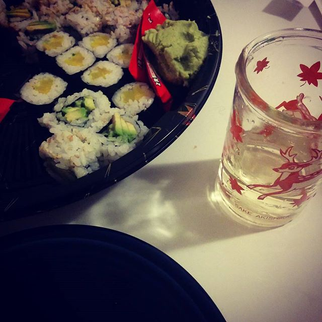 sushi and sake at home