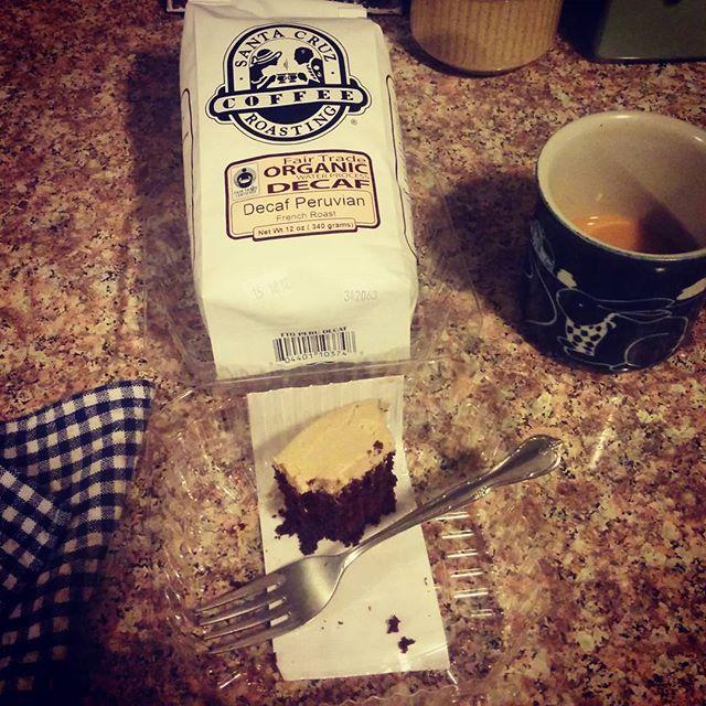 tastes of Santa Cruz in my kitchen with Black China Bakery vegan cake and S.C. Roasting Co. coffee