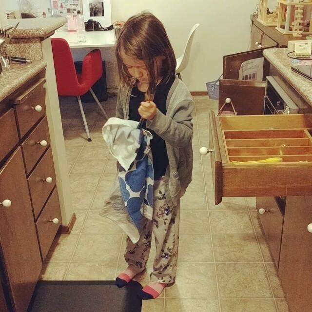 Putting away utensils