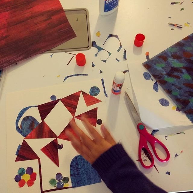 making a joint collage with Eric Carle printed vellum