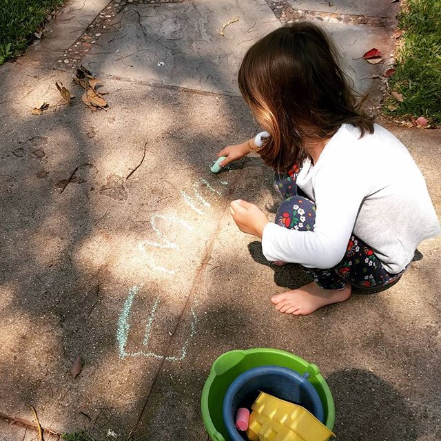 barefoot with chalk