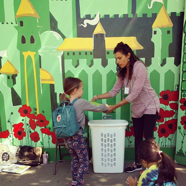 Every Friday at 3pm you will find us at the  Storytime at Children's Fairyland. Clover loves to help out at the end by cleaning up the lily pads (pillows) and putting away the benches.