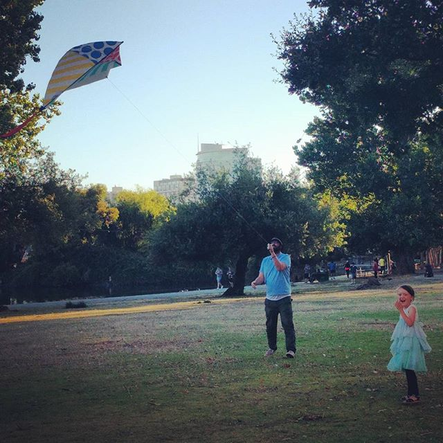 papa and Clover with their kite