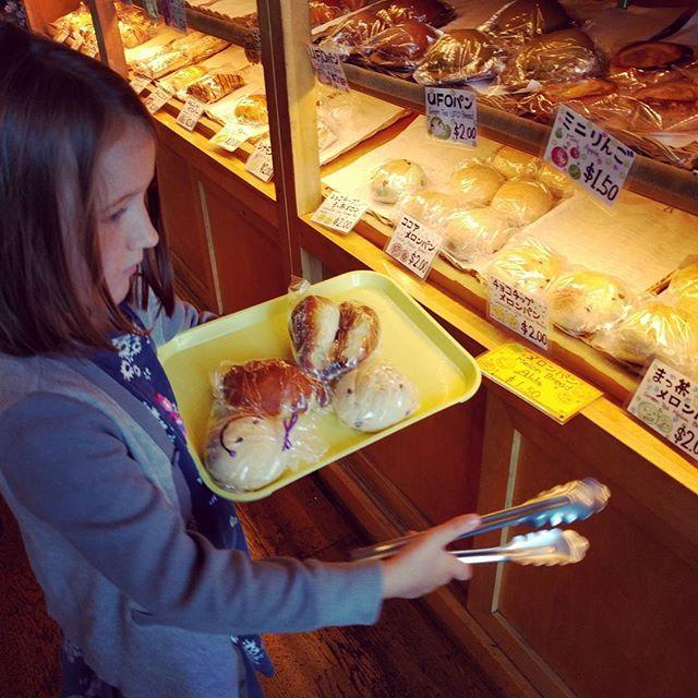 Choosing sweet treats from Clover Bakery