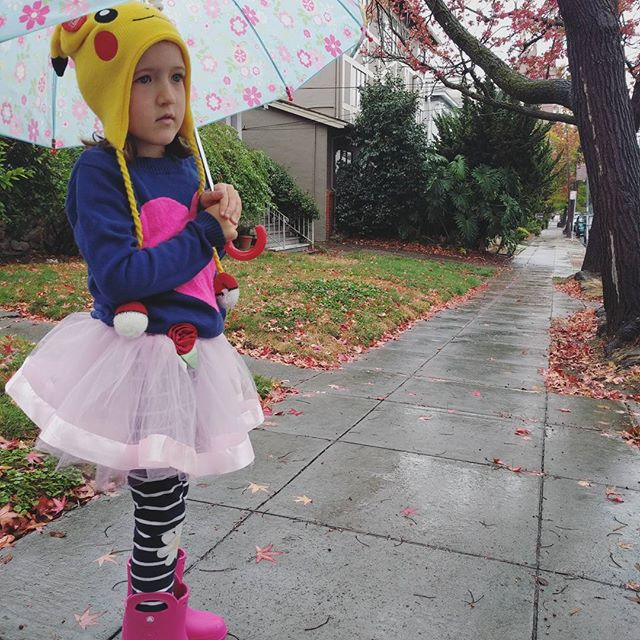 Clover has really upped her rainy day style.