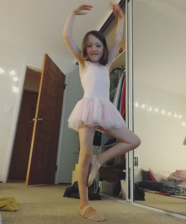 This ballerina cannot wait for class.