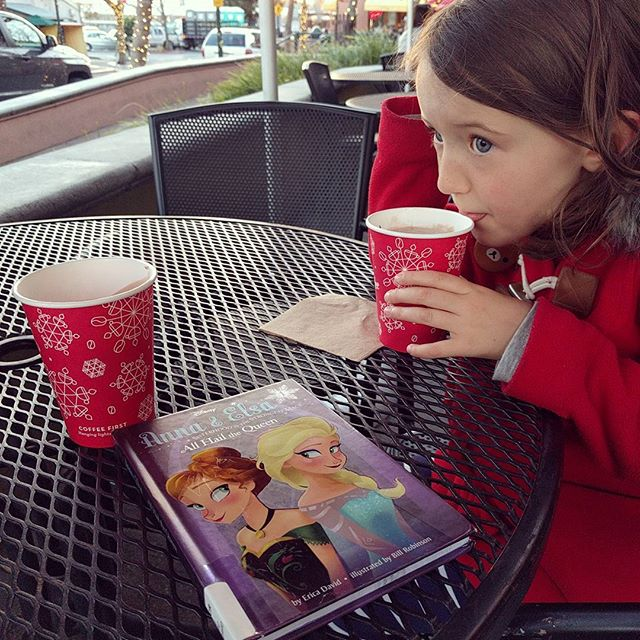 hot chocolate date: reading about ice harvesting and waiting for 4th st to be lit up!