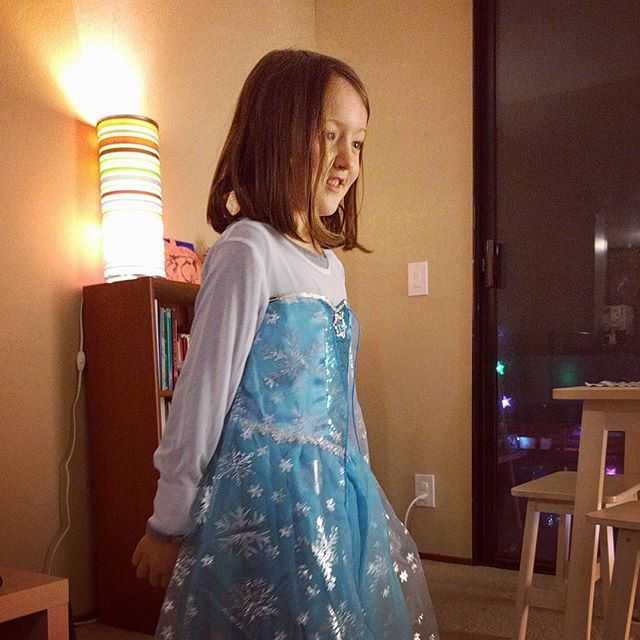 new Elsa dress, for the growing snow queen