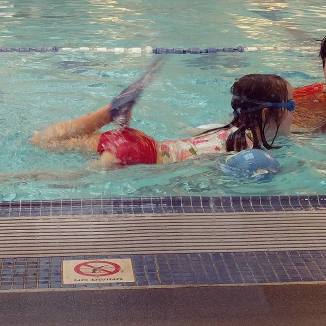 So glad we found aqua tech swim school. Clover put her face in the water today! Success!