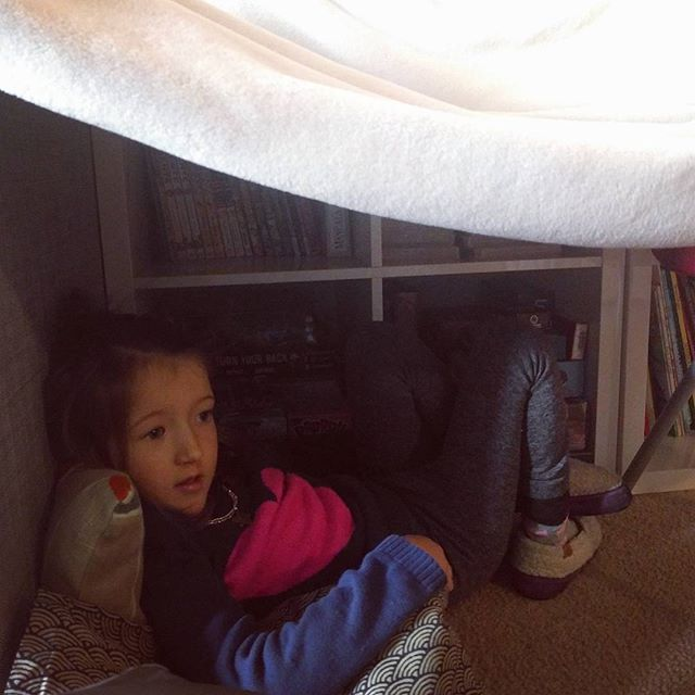 in her tent