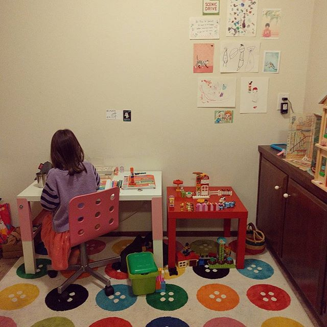 Emma has been at her desk for most of the day working on a scholastic pre K workbook.