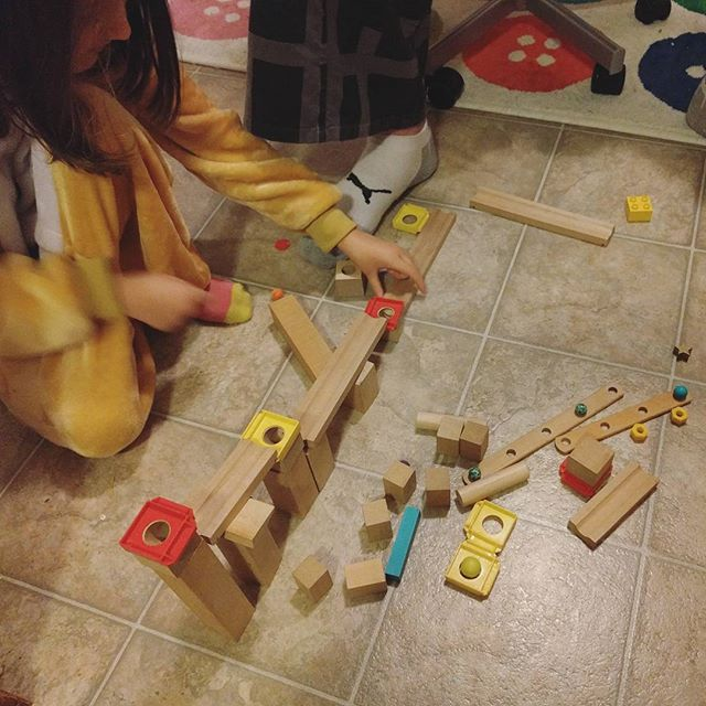 everyone is excited about the wooden marble run pieces I found at the Center for Creative Reuse.
