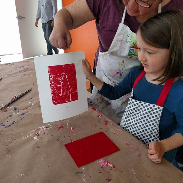 Printmaking at art class