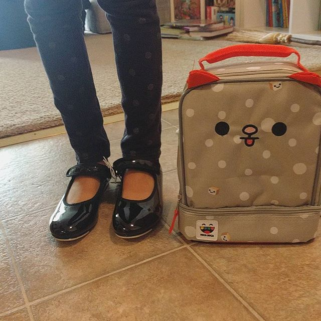 Kindergarten lunch box and tap shoes for the fall.