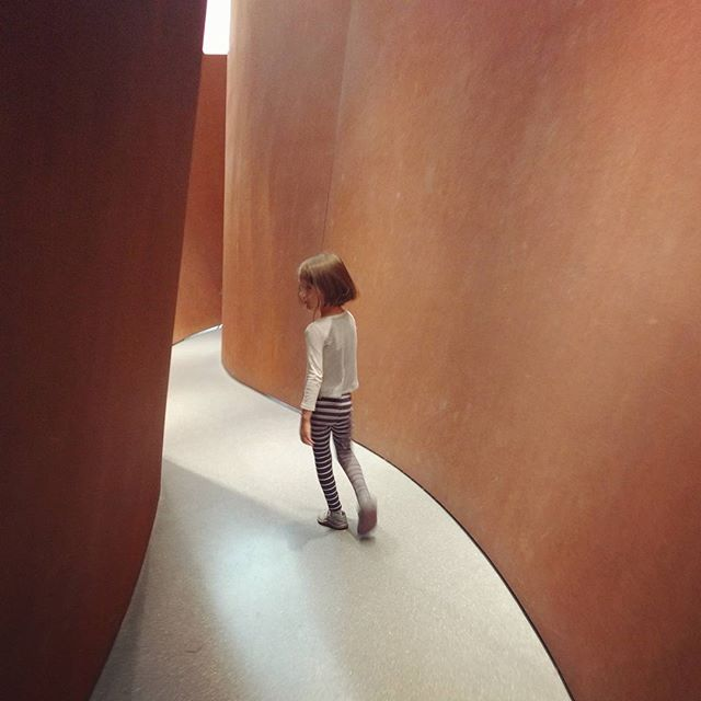Going through the Richard Serra sequence sculpture. Today was one of our best days at the museum. So glad I have had a membership this past year!