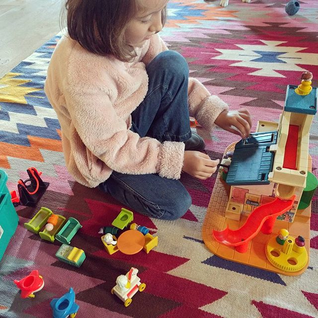 Playing with my old Sesame Street play house at aunt Joan's