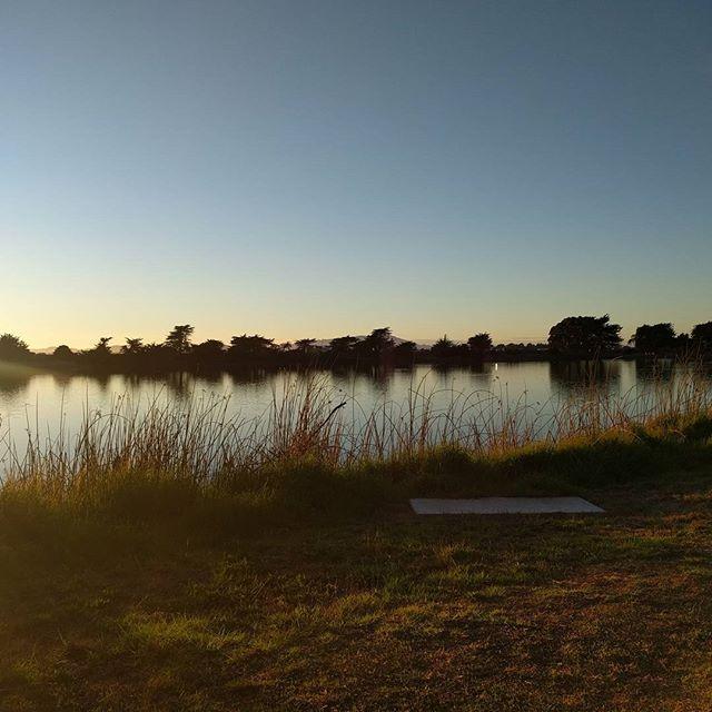 Fading warm autumn light at the aquatic park.