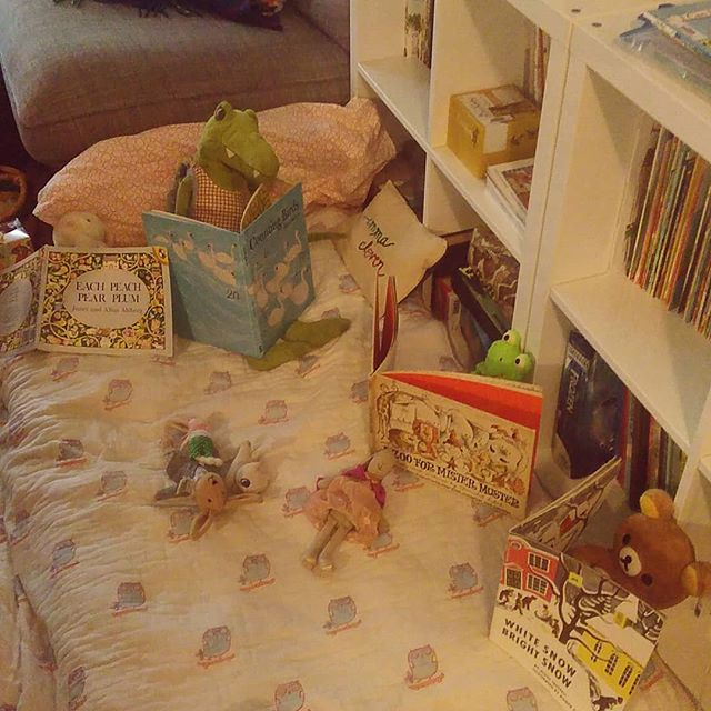 Our home library is full of readers.  And!  Clover read part of an easy reader book!