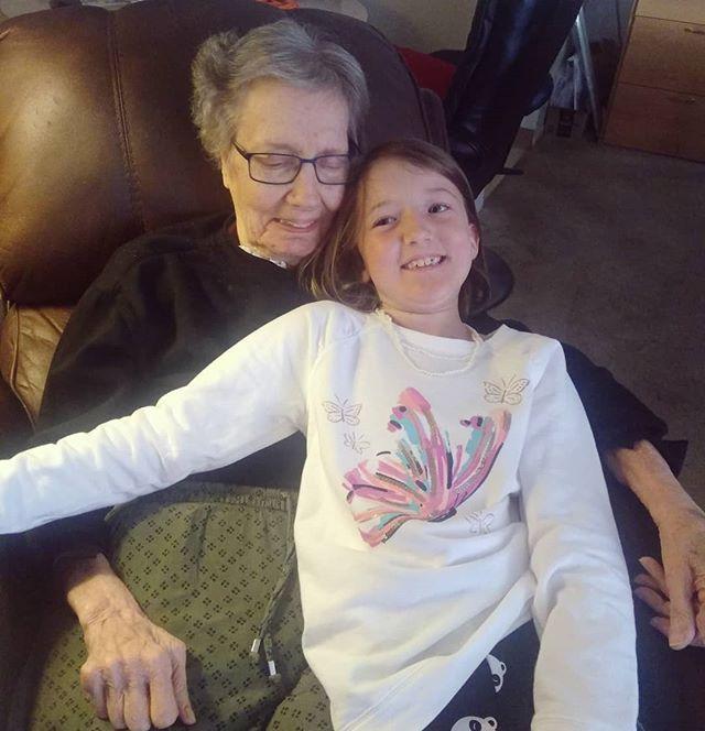 Cuddling up with Grandma